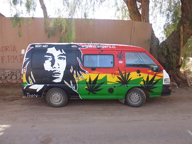 ボブマーリーと大麻がペイントされたバン